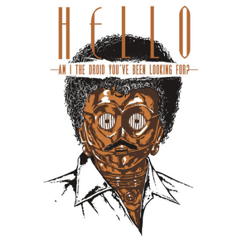 ianbrooks:  Hello! by Guitar Atomik Shirts and stickers available at redbubble. I always assumed Lionel Ritchie was a mandroid anyway, so this seems about right.  Artist: deviantart