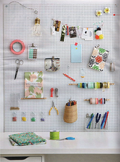 Using a peg board to organize craft supplies