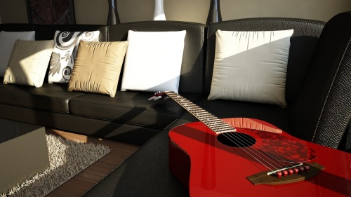 Red Acoustic Guitar - Cinema 4D