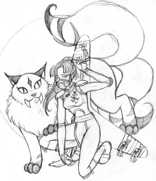 Battle Ready (sketch) Kirara and Sango ready for battle! I know I've forgotten Sango's sword, but it was already such a busy picture I felt better leaving it out than putting it in.