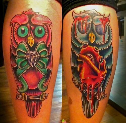 fuckyeahtattoos:  Owls done by Sean Hall North Hollywood, CA worksofseanhall@gmail.com for appointments Facebook.com/seanhalltattoos #owls #tattoos #tattoo #goodevil #onesession #legtattoo #cute #bright #vibrant