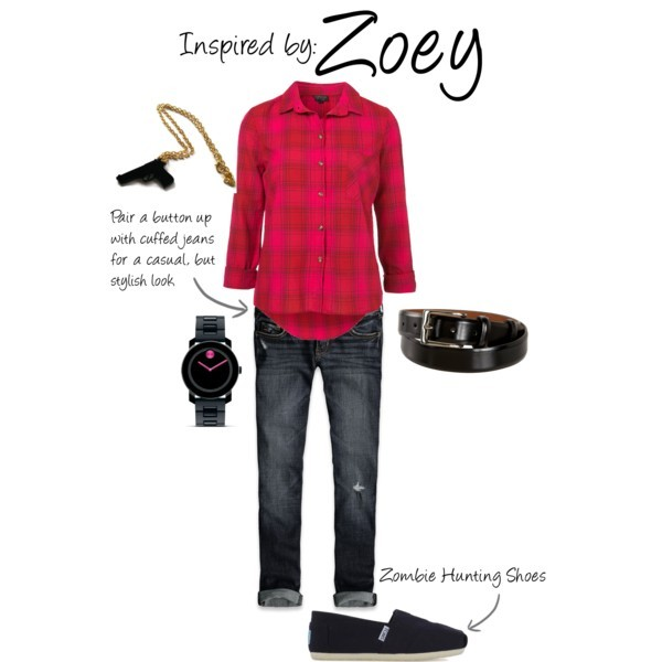 "Zoey (Left 4 Dead) by ladysnip3r featuring cropped cuffed jeans This outfit is inspired by Zoey of Left 4 Dead. This was a really difficult outfit to create since her in-game outfit is so ""normal"". I decided to swap out her track jacket for a plaid button up, as I think it's much more stylish and versatile. I kept her cuffed boyfriend jeans the same, choosing a dark wash that's universally flattering. I also chose Toms sneakers instead of her in-game converse - just so the two outfits didn't look so matchy matchy, but you could definitely wear this outfit with converse and still look awesome. Lastly, I chose black accessories to pop against the pink shirt. (Reference Image) Check shirt, $58Hollister Co. cropped cuffed jeans, $50TOMS slip on shoes, 55 CADBlack chain necklace, $12Cole haan belt, $65"