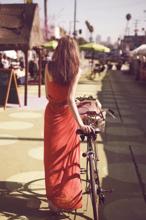 modcloth:  Not sure how you'd bike in this red-orange dress, but it looks great!