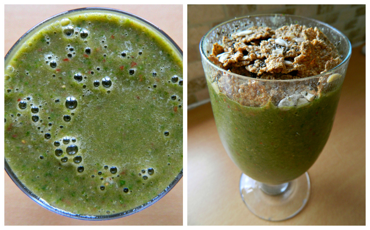 Today's smoothie! Spinach, banana, strawberry, almond milk and ground flaxseed, topped with bran flakes, sunflower seeds and chia seeds.