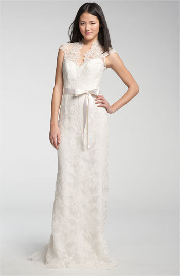 Theia Lace Overlay Cap Sleeve Gown