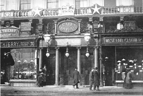 Cafe Royal, London, 1901. A lovely photograph, this, and not necessarily for the Cafe Royal; Thierry Ltd, on the left, a boot and shoe makers has a lovely looking window display - but you'll need to zoom in to be able to see it. The same goes for the 'West End Clothiers' on the right. But, back to the Cafe Royal; you may notice that above the door is the word 'Nicols' just about visible if you enlarge the picture. The Cafe Royal was originally opened by a French wine merchant named Daniel Nicholas Thevenon. Bankruptcy forced him to flee his native country in 1863 with only five pounds in cash to his name. Upon arriving in England he changed his name to Daniel Nicols, and in 1865, he and his wife, Celestine, purchased the cafe, hence the name above the door; 'Nicols'