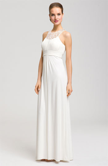 JS Boutique Beaded Collar Halter Bridal Gown