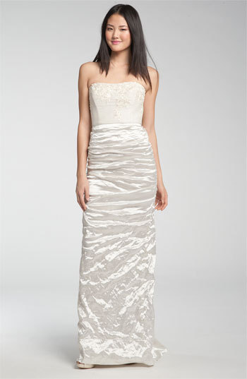 Nicole Miller Embroidered Bodice Ruched Satin Bridal Gown