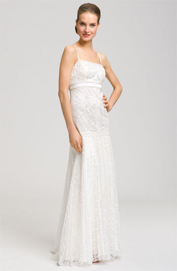 Sue Wong Spaghetti Strap Embroidered Gown