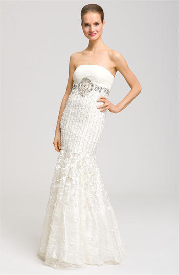 Sue Wong Drop Waist Embellished Mermaid Gown