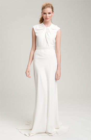 Carmen Marc Valvo Twist Neck Crepe Gown