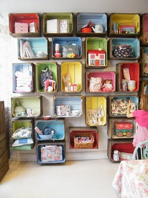colorful diy wall storage