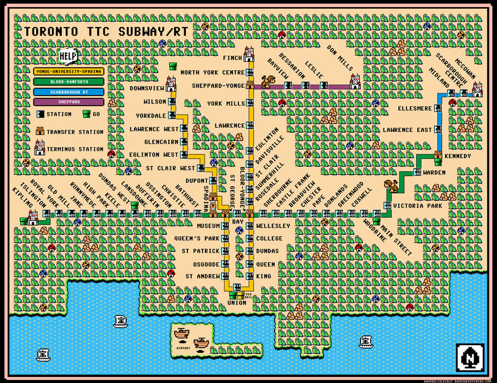 Toronto Subway Mario 3 Map - Torontoist