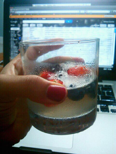Lemonade meets blueberries & strawberries  ..totally helping me get through this NYC heat wave! [photo © Maitreya Levanchild] O, MY MY!