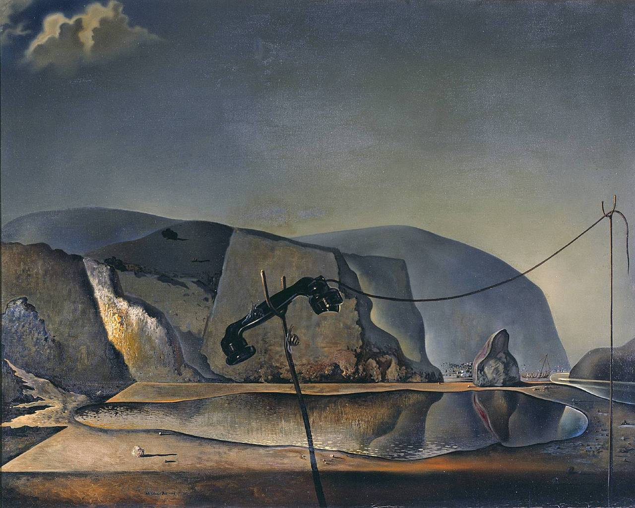 artpedia:  Salvador Dalí - Mountain Lake, 1938. Oil on canvas  From the Tate Gallery, London:  Mountain Lake demonstrates Dalí's use of the multiple image: the lake can simultaneously be seen as a fish. By such doubling he sought to challenge rationality. The painting combines personal and public references. His parents visited this lake after the death of their first child, also called Salvador. Dalí seems to have been haunted by the death of his namesake brother whom he never knew. The disconnected telephone brings the image into the present by alluding to negotiations between Neville Chamberlain, the British Prime Minister, and Hitler over the German annexation of the Sudetenland in September 1938.