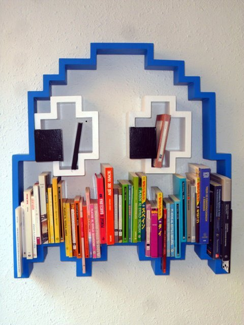 skypyro:  Pac-man ghost bookshelf made by Barcelona artist LightYourselfUp