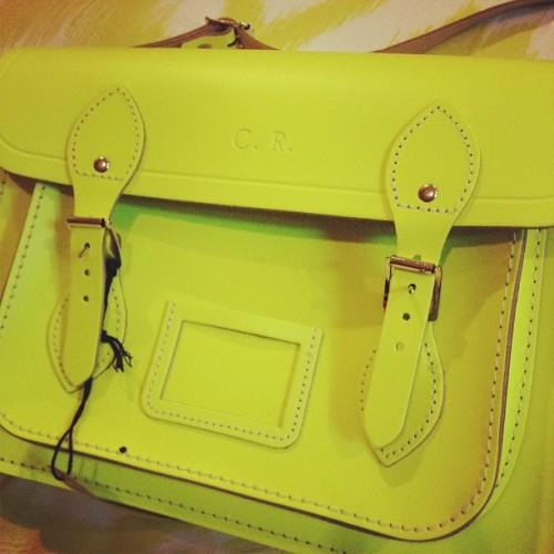 C.R. thank you @clarajanice #cambridge #bag #satchel #initial #yellow #fashion #accessories  (Taken with Instagram)