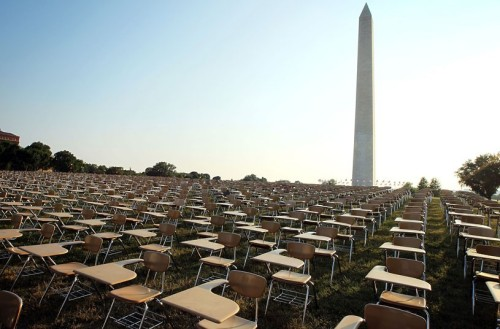 inothernews:  THE ABSENT   An installation of 857 empty school desks, representing the number of U.S. students who drop out of school every hour, every school day, displayed at the National Mall in Washington, D.C.  (Photo: Alex Wong / Getty Images via The Telegraph)  Less than a month ago my partner and i had about an hour to come up with something to launch The College Board's Don't Forget Ed campaign after our other launch ideas had been scrapped. We sat down and came up with this, which was originally going to be 6000 desks to represent the kids who drop out every day. Luckily we cut it down to every hour of every day, especially since we ended up personally moving each and every desk into place. I've never been so happy to be sweating my butt off because the result was worth every drop.