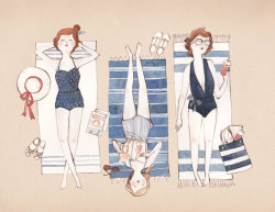 "polishedobjects:  Summer, Summer, Summertiiiiime…. ""Sunbathing"" by Kelsey Garrity Riley and available on Etsy"