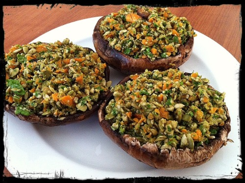 findvegan:  Seed Stuffed Portabellos