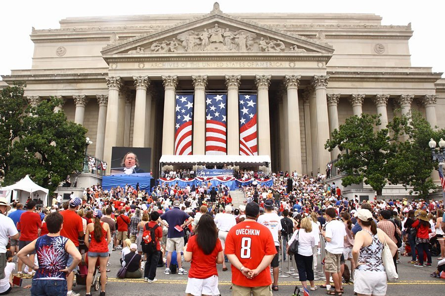 Celebrate July 4 at the National Archives Building! Join us on the Constitution Avenue steps between 7th and 9th Streets as we commemorate this historic day with C-SPAN host Steve Scully as emcee and our annual dramatic reading of the Declaration of Independence. 10 a.m.–11 a.m.Declaration of Independence Reading Ceremony  Presentation of colors by the Continental Color Guard* Performance by the Fife and Drum Corps* Remarks by Archivist of the United States David S. Ferriero Dramatic reading of the Declaration of Independence by special guests including Thomas Jefferson, John Adams, Benjamin Franklin, and Ned Hector (portrayed by historical reenactors) * Continental Color Guard and Fife and Drum Corps provided by U.S. 3rd Infantry, the Old Guard 11 a.m.–2 p.m.Inside the National Archives Building Take part in hands-on family activities. Meet historical figures in the Rotunda: Benjamin Franklin, Thomas Jefferson, John Adams, Ned Hector, and members of the American Historical Theatre. July 4th at the National Archives is made possible in part by the generous support of John Hancock Financial and Dykema.