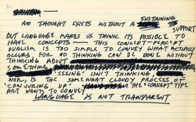 Mel Bochner, Notecard (No thought exists…), 1969, ink on notecard [+]