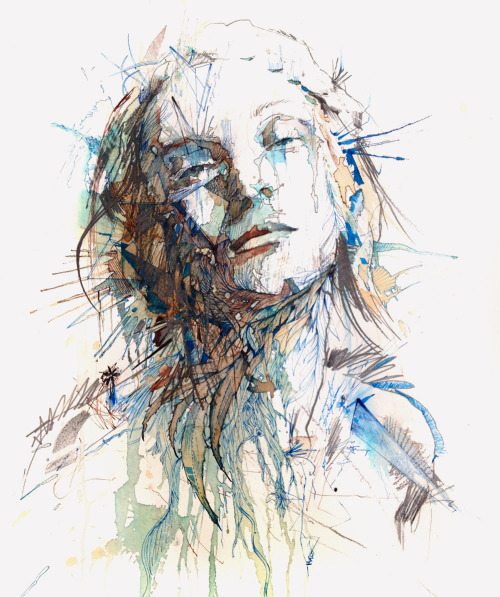 carnegriffiths:  Silence - Ink and tea on paper 75 x 56 cmwww.carnegriffiths.com