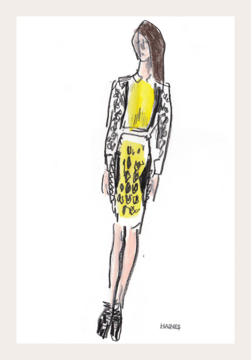 tmagazine:  Richard Haines's sketch of a model from our Pitti Uomo illustration diary.