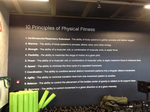 killfatme:  crossfittinhawaiiantexaschick:  The Ten Principles of Physical Fitness Cardiovascular/Respiratory Endurance: The ability of body systems to gather, process and deliver oxygen. Stamina: The ability of body systems to process, deliver, store and utilize energy. Strength: The ability of a muscular unit, or combination of muscular units, to apply force. Flexibility: The ability to maximize the range of motion at a given joint. Power: The ability of a muscular unit, or combination of muscular units, to apply maximum force in minimum time. Speed: The ability to minimize the time cycle of a repeated movement. Coordination: The ability to combine several distinct movement patterns into a singular distinct movement. Agility: The ability to minimize transition time from one movement pattern to another. Balance: The ability to control the placement of the bodies center of gravity in relation to its support base. Accuracy: The ability to control movement in a given direction or at a given intensity.  10 facets of overall fitness