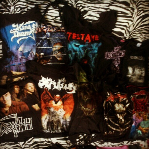 Dk which band shirts to wear to Orion! Thinking Sepultura one day… But is it in poor taste to wear Cavalera era Sepultura to modern day Sepultura? What about wearing Megadeth to Metallica? Is that not okay? Help me pick out two shirts! #metalheadproblems #metal #metallica #kingdiamond #megadeth #testament #blacksabbath #burzum #death #sepultura #slayer #venom #spiritualhealing #orion (Taken with Instagram)