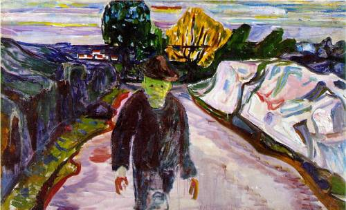 blastedheath:  Edvard Munch (Norwegian, 1863-1944), The Murderer, 1910. Munch Museum, Oslo.  oh my god Edvard Munch will never cease to amaze me