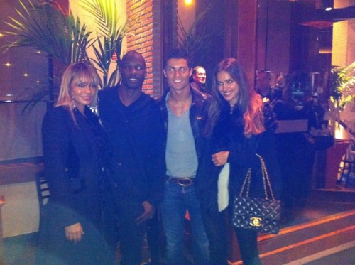 Cristiano Ronaldo X Ochocinco …and their girlfriends, on a double date in Spain!  The soccer player's girlfriend is supermodel Irina Shayk, Ochocinco is engaged to reality tv host Evelyn Lozada. Sidenote: Just over one week away until Ochocinco legally changes his name back to Chad Johnson.