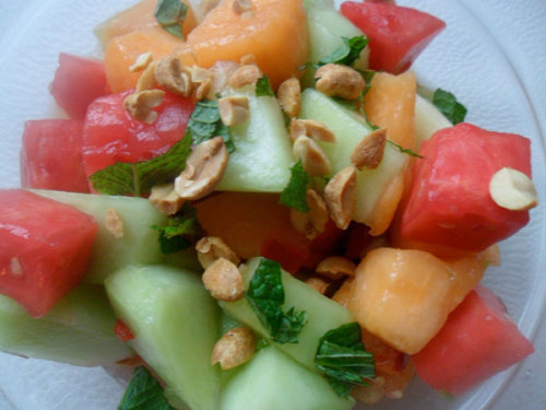 Lunch Idea: Spicy Melon Salad with Peanuts and Mint  A simple melon salad takes a refreshingly exotic turn when tossed in a salty, citrusy dressing infused with chilies and mint. I adapted this recipe from Andrea Reusing's Cooking In the Moment: A Year of Seasonal Recipes to take to a recent potluck buffet, and it fit in beautifully with the rest of the spread that included charcuterie, cheeses, salads, and various nibbles. It would also be a welcome switch from the predictable fruit salad at a backyard cookout. I used a combination of watermelon, cantaloupe, and honeydew, but use whatever combination you like.  Enjoy the full recipe Subscribe to our weekly recipe newsletter