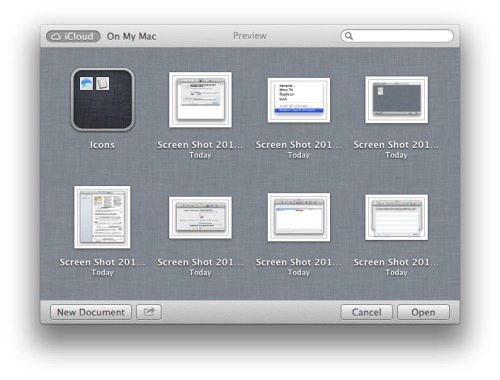 On iCloud missing file system.   iCloud in Mountain Lion open and save dialog boxes shows essentially a flat space with documents in it. In other words, there is no file system in iCloud storage. I guess the design choice behind this is to keep things simple. Current computers UI startup UI is essentially to present a windows on a file system. But the computer is not a file system. So the paradigm shift seems to be compelling.   The problem is when you have more than 10 documents in iCloud for a specific application, looking for the one you want becomes tedious. By not having a file system, this render iCloud storage problematic. And I think this is the kind of problem we see often in Apple applications: they don't scale well at certain usage level (i.e. power users). Another example of this is the iOS application Photos.app. There is no hierarchy for organizing hundreds of photos. I find it problematic when you are looking for a specific set of pictures.  I guess Apple wants to simplify the computing experience but the thing is, for many of us who are using computers since before the iPhone, we all know and basically understand folders and documents. Apple shouldn't have eliminated this from iCloud's document storage. Maybe in iCloud 2.0, who knows.