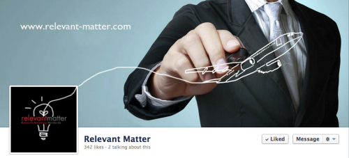 Facebook coverphoto and profile picture that I designed for my company that I am currently interning at (Relevant-Matter)