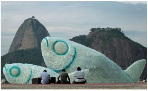 Giant fish sculptures made from recycled plastic bottles, via Colossal Just brilliant