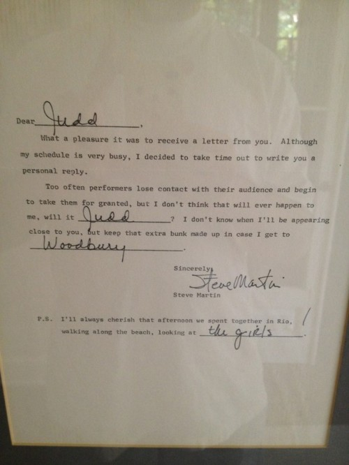 The Personal Letter Steve Martin Wrote to a Young Judd Apatow Imagine the joy this letter brought Judd, just a kid at the time. Martin even mentions him by name!