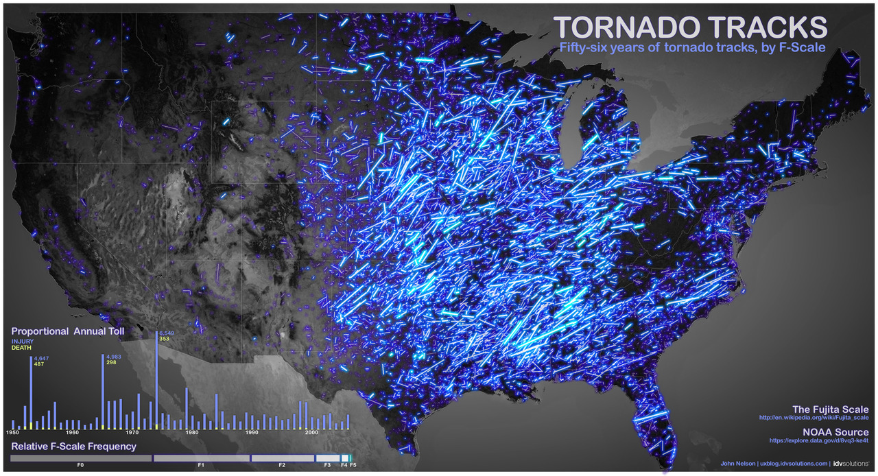 Image description: This map shows tornado tracks from 1950 to 2006. Stronger tornadoes appear as brighter lines. The map was created by John Nelson of IDV Solutions using data that's available on Data.gov. Learn more about the map.