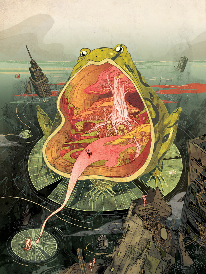 victongai:  Utopia, Frogfolio Victo Ngai Every year Dellas Graphic launches a calendar project called the Frogfolio which led to tons of award-winning pieces in the past 16 years. The past talents include Brad Holland, Etienne Delessert, Chris Buzelli, Yuko Shimizu, Sam Weber, Sam Bosma, Jillian Tamaki, Bill Mayer, Ellen Weinstein, Joohee Yoon.etc. It's a great honor to have my name be part of the artists I highly admire.  The subject matter is completely open ( as long as there is a frog in the picture), so I took full advantage and had tons of fun working on this piece. Thank you AD Jim Burke for having me on board!!