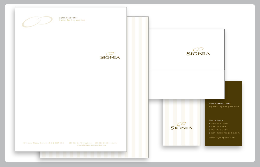 BRAND IDENTITY:SIGNIA GEMSTONESFinal design, Stationary Suite.  Working out of Brantford ON, MINDSPIN STUDIO