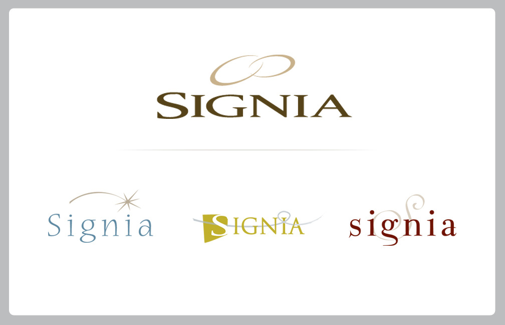 BRAND IDENTITY: LOGOSIGNIA GEMSTONESFrom concepts to final design.  SIGNIA is a brand new company that needed a starter identity package with everything—including the name!  Working out of Brantford ON, MINDSPIN STUDIO