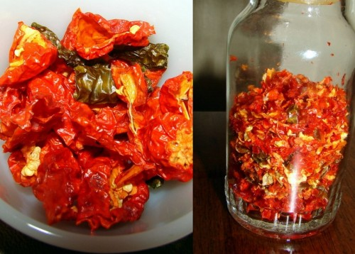 gleepglarp:  Yesterday I dried 5 huge ghost peppers in the oven (quartered) along with 2 green chilis, and then used a coffee grinder to make them into pepper flakes.  Looks amazing!