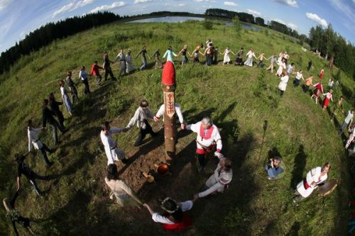 "rodnovery:  Kupala Kupala Night, Ivan Kupala Day (Russian: Иван-Купала; Belarusian: Купалле; Ukrainian: Іван Купала; Polish: Noc Kupały) is celebrated in the night of 23/24 June in the Gregorian or New Style calendar, which is 6/7 July in the Julian or Old Style calendar. Calendar-wise, it is opposite to the winter solstice holiday Korochun. The celebration relates to the summer solstice when nights are the shortest and includes a number of fascinating Pagan rituals. Some early mythology scholars, such as Sir James Frazer, claimed that the holiday was originally Kupala; a pagan fertility rite later accepted into the Orthodox Christian calendar. There are analogues for celebrating the legacy of St. John around the time of the summer solstice elsewhere, including St. John's Day in Western Europe. The Ukrainian, Belarusian and Russian name of this holiday combines ""Ivan"" (John — the Baptist) and Kupala which is related to a word derived from the Slavic word for bathing, which is cognate. The latter is reinterpreted as John's baptizing people through full immersion in water (therefore his biblical title of the Baptist). However, the tradition of Kupala predates Christianity. Due to the popularity of the pagan celebration that with time it was simply accepted and reestablished as one of the native Christian traditions intertwined with local folklore. On rare occasions it is spelled as Ivanna Kupala (Joann) representing the tradition as feminine. The holiday is still enthusiastically celebrated by the younger people of the Eastern Europe. The night preceding the holiday (Tvorila night) is considered the night for ""good humour"" mischiefs (which sometimes would raise concerns of law enforcement agencies). On Ivan Kupala day itself, children are engaged in water fights and perform pranks mostly involving pouring water over someone."