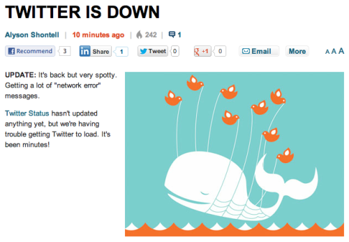 shortformblog:  How Business Insider handles Twitter downtime.  This is like when the teacher shows up, right? We can just leave?