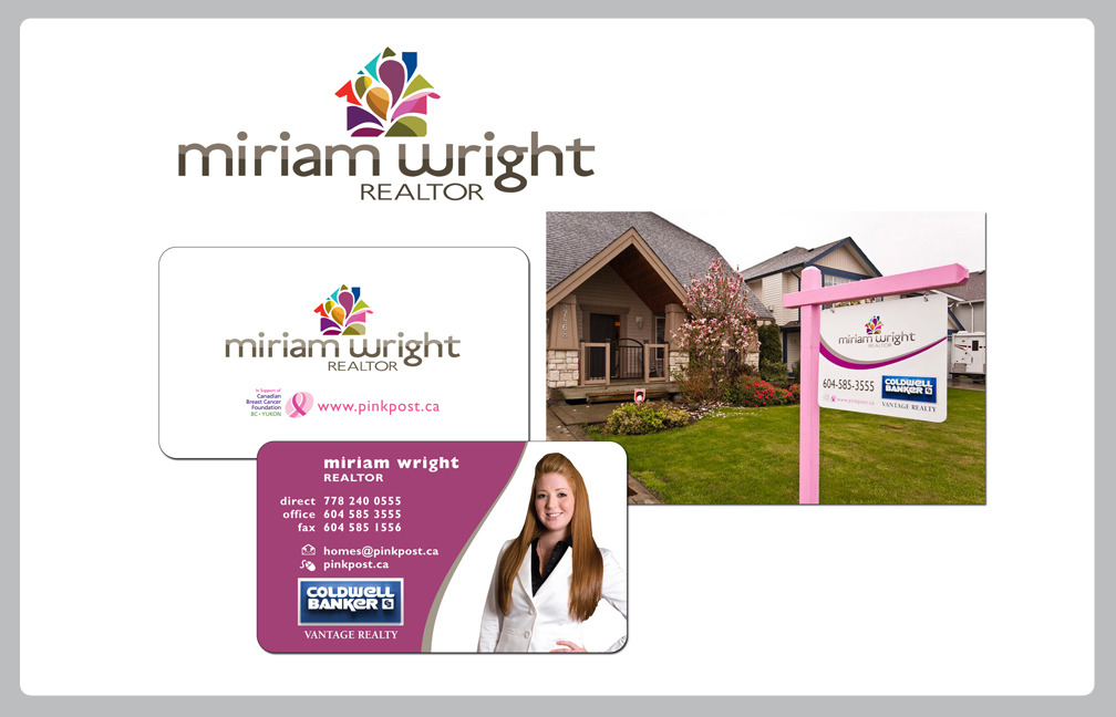 BRANDING & IDENTITYMIRIAM WRIGHT-COLDWELL BANKER, REAL ESTATE  http://www.pinkpost.ca  Partnering with The Canadian Breast Cancer Society, Miriam wanted a look that set her apart from other agents in her area while highlighting her connection with the cancer society. With a fresh and distinctive logo, identity materials and her trademark pink post, she is well on her way to meeting her goals.  Annastacia DickersonEVOLVING RED CREATIVE COMMUNICATIONS