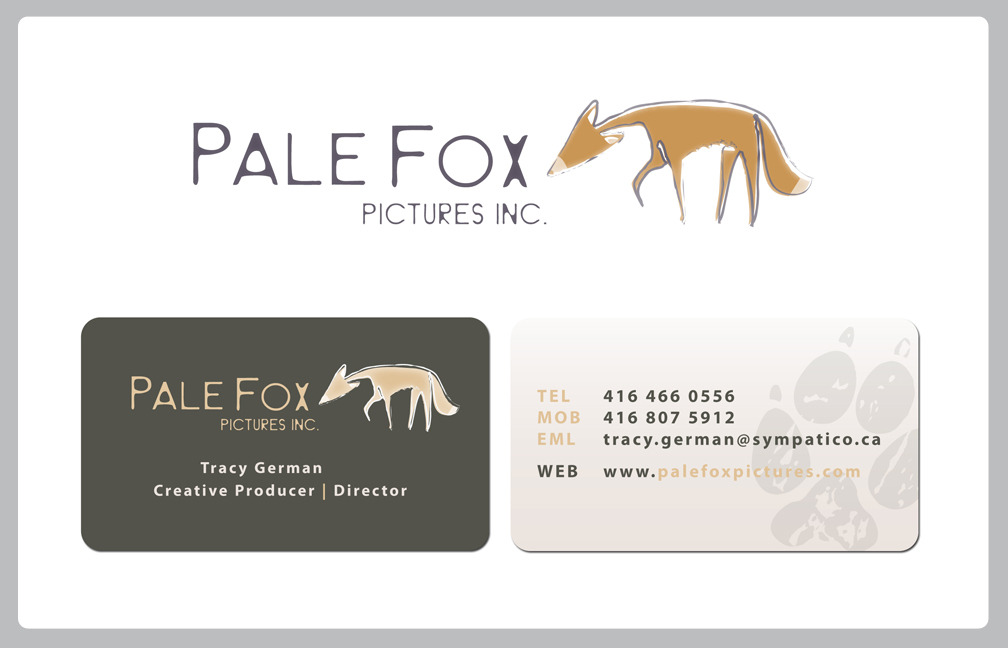 BRANDING & IDENTITYPALE FOX PRODUCTIONS  Logo and Business Card.  Annastacia DickersonEVOLVING RED CREATIVE COMMUNICATIONS