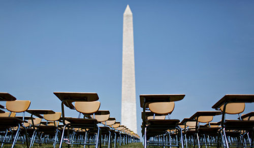 The College Board set up a display at the National Mall of 857 desks representing the 857 students who drop out of American high schools every hour of every school day. Read the full NYT article