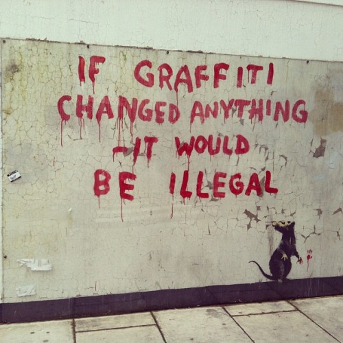 Stumbled on a Banksy while looking for my bus home #banksy #london (Taken with Instagram)