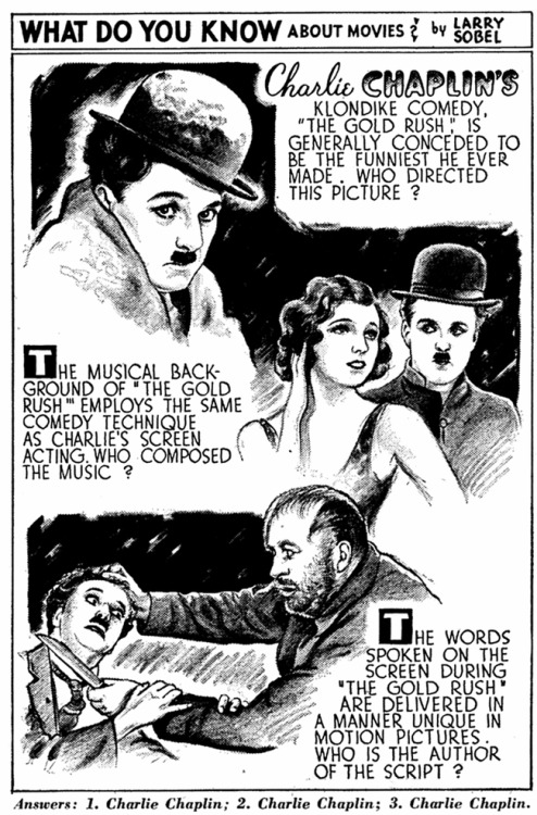"criterioncorner:  Newspaper Ad for 1942 Re-release of Chaplin's THE GOLD RUSH oh, how i pine for the good ol' days of movie promos, back before the era of photoshop and floating heads. before the age of teaser clips for teaser trailers that premiere during award shows on MTV.  i mean, sure, this silly newspaper ""quiz"" for The Gold Rush is, um, silly, but gloriously so. also, i totally aced this quiz cause i'm a total movie genius (no big deal). anyway, the folks over at blu-ray.com have posted a wonderfully exhaustive piece on the making and selling of The Gold Rush, which is absolutely overflowing with neat artifacts and details. do yourself a favor and check it out."