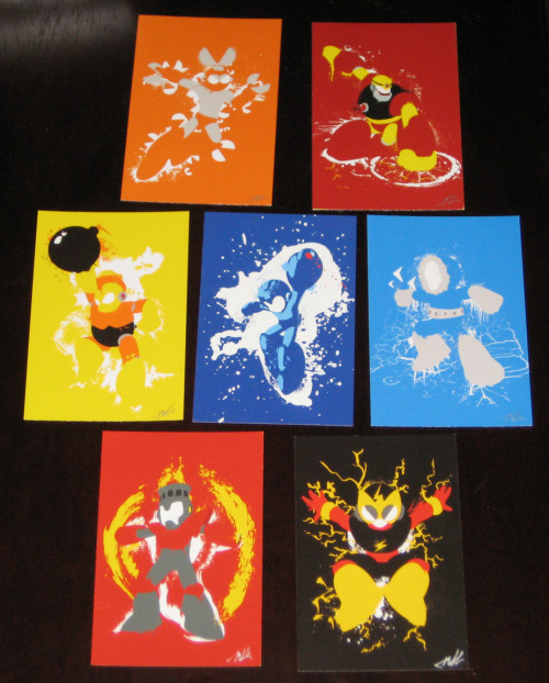 "the-daily-robot:  Robot Masters of Mega Man 1 now available in 4""x6"" print form!  At Etsy!  Check out the Mega Man 2 set as well."